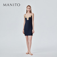 MANITO/曼尼陀真丝睡衣性感蕾丝吊带短睡裙时尚桑蚕丝V领家居服