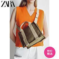 ZARA春夏打折女包卡其绿色迷你印字帆布手提购物包16167710032