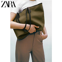 ZARA新款女包卡其绿色大容量帆布单肩手提购物包16162710032
