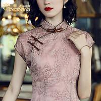 朵拉芭娜走秀演出旗袍女夏季中国风日常改良雪纺盖袖中长款连衣裙