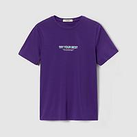 海一家简约字母短T2021夏季新品舒适休闲圆领男士短袖T恤