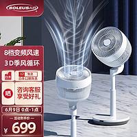 美国舒乐氏(SOLEUSAIR)空气循环扇电风扇家用落地扇直流变频落地8档调速低音大风量循环扇落地循环扇