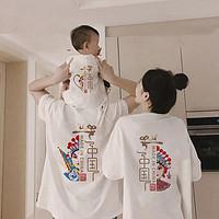 国潮亲子装短袖夏装一家三口四口加大码t恤中国风脸谱高端母女装 莎丞