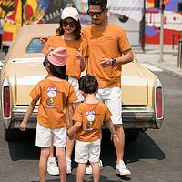上衣/套装亲子装夏装一家三口四口黄色短袖t恤母女母子装家庭装 臻依缘
