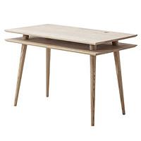 【厌式房间】双层书桌实木学生电脑桌写字台家用办公现代简约设计白蜡木1100x600x750mm