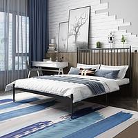 L&S床铁艺床双人床铁架床1.5米1.8米1.2米铁床欧式轻奢公主床婚床卧室宿舍出租房YC13经典黑1.8*2m(质量升级)