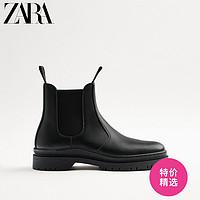 ZARA男鞋黑色复古百搭经典切尔西式烟筒短靴12000720040