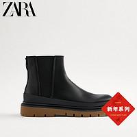 ZARA男鞋黑色撞色鞋底百搭经典烟筒切尔西短靴12012720040