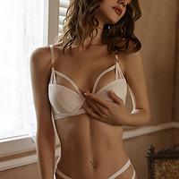 女人的秘密上薄下厚聚拢内衣套装法式性感蕾丝文胸罩夏季诱惑白色