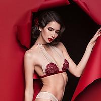 AuraoraAlba蔷薇酒红女神全杯超薄蕾丝交叉美背背心式无钢圈内衣