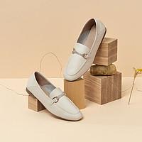 BASTO/百思图商场同款时尚饰带圆头浅口女乐福鞋