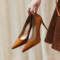 法式高跟鞋女2021年新款设计感小众绒面单鞋女细跟不磨脚气质百搭