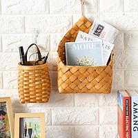 Kens木片壁篮美式田园皮质把手手工收纳篮桌面零食收纳厨房挂墙