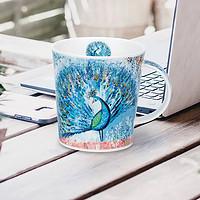 英国丹侬Dunoon骨瓷水杯Lomond杯型孔雀开屏蓝色礼盒