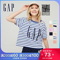 【重磅密织】Gap女装LOGO纯棉短袖T恤夏季新款休闲宽松内搭上衣