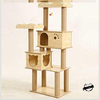 。小型舒适木屋新款多功能简约实木猫爬架猫树猫窝带窗户一体立体