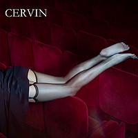 法国CERVINCaprice15D足部全透明窄边袜口尼龙无弹力薄吊带丝袜