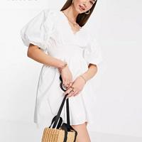 英美代购RiverIsland泡芙袖白色连衣裙mini短裙