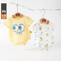 佩爱海绵宝宝联名款婴儿连体衣男女宝宝纯棉短袖夏季薄款包屁衣