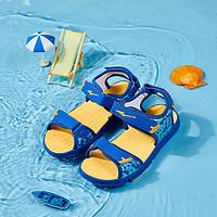 中小童男童凉鞋夏时尚拼色印花舒适耐磨轻盈防滑男童沙滩鞋