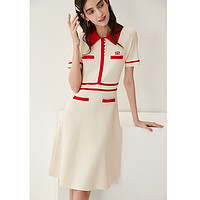 轻松时髦S家◆短袖连衣裙夏2021新款Polo领法式气质收腰针织裙子