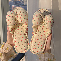 棉麻拖鞋女夏季居家用防滑静音室内可爱少女心蝴蝶结四季亚麻凉拖