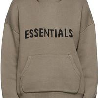 Essentials Taupe针织Logo连帽衫