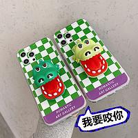 SIMFCX会咬人的鳄鱼手机壳苹果12/11pro max趣味情侣恶搞怪适用iPhone7plus/8p个性创意x/xs减压xr小众奇葩13