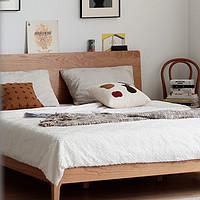 小半家具北欧实木床樱桃木简约日式1.5单人主卧白橡木1.8米双人床