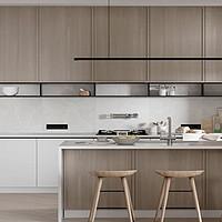 定制 北京大成橱柜定制整体石英石台面开放式厨房设计小户型厨柜门定做