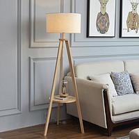 实木落地灯北欧风沙发客厅卧室置物架北欧ins风日式原木立式台灯