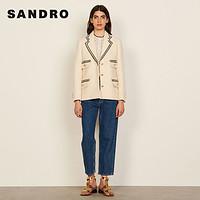 sandro2021秋冬新款女装学院风编织饰边花呢外套SFPVE00570