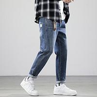 【推荐款】秋季小直筒简约纯色牛仔裤青少年百搭男士时尚牛仔裤