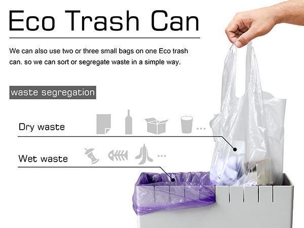 适用不同尺寸垃圾袋:大学教师设计环保垃圾桶 Eco Trash Can