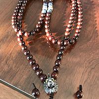 文玩入坑之路:满金星小紫叶檀 1.0 108颗珠子佩串