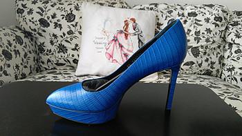 """""""恨天高""""saint laurent  女士蓝色防水台高跟鞋"""