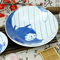 一个猫控的自我修养:Ceramic 蓝 杯、碗、碟、筷 治愈系餐具套装