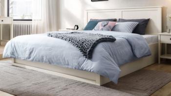 林氏木业上新北欧风实木高箱储物床,专为小户型设计