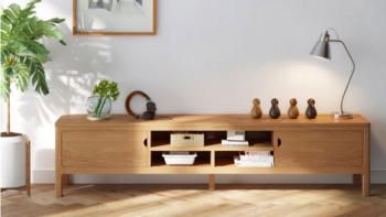 全实木材质、大容量储物:林氏木业上新一款北欧日式电视柜
