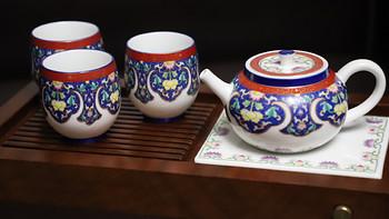 梦の茶与器 篇十六:苏氏陶瓷 珐琅彩描金陶瓷茶具配花梨实木茶盘套装