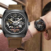 【新年礼物】酒桶镂空男士自动机械镂空复古酒桶型硬汉风手表