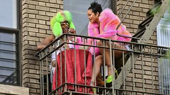 夏戴冬帽或成为新的流行趋势?看Rihanna和Rocky 拍摄新MV撒糖