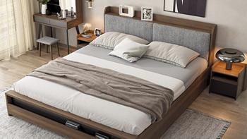 小米有品AQUIMIA现代简约储物床,合理分区收纳,加厚床体边框,高性价比