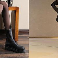 丝袜穿搭 篇二:显腿长利器,秋冬必备一款马丁靴